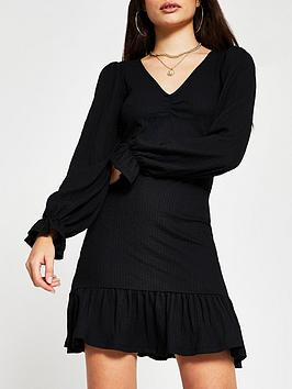 river-island-frill-hem-mini-dress-black
