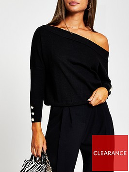 river-island-open-neck-knitted-top-black