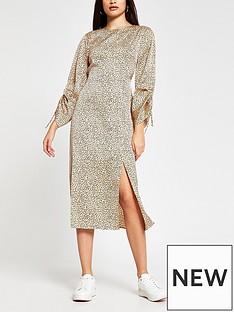 river-island-leopard-printnbspruched-sleeve-midi-dress-beige