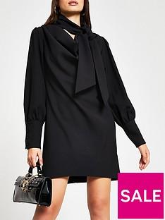 river-island-cowl-tie-neck-shift-dress-black