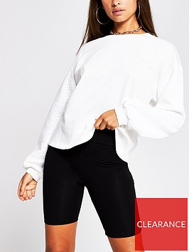 river-island-quilted-sleeve-sweater-white