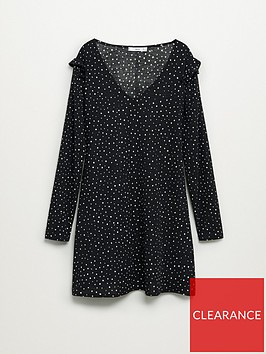 mango-frilled-sleeve-polka-dot-dress-print