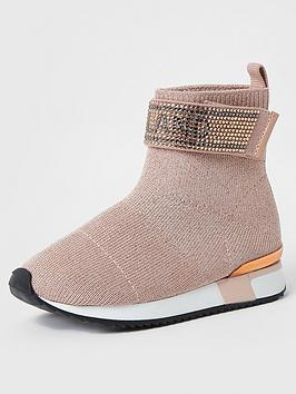river-island-mini-mini-girls-ri-embellished-sock-trainer--nbsppink