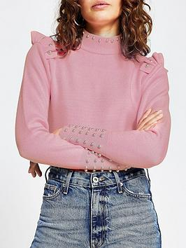 river-island-pearl-frill-detail-jumper-light-pink
