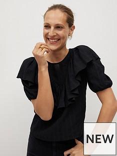 mango-ruffle-front-blouse-black