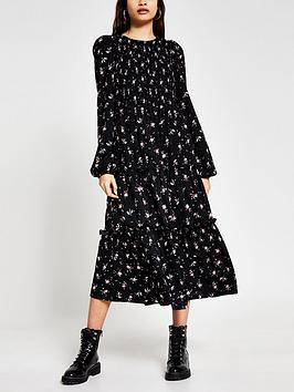 river-island-printed-shirred-smock-midi-dress-print
