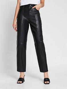 river-island-premium-leather-trouser-black