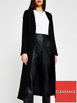 river-island-collarless-tie-waist-duster-black