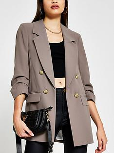 river-island-ruched-sleeve-blazer-taupe