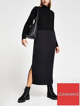 river-island-knitted-satin-mix-midi-dress-black