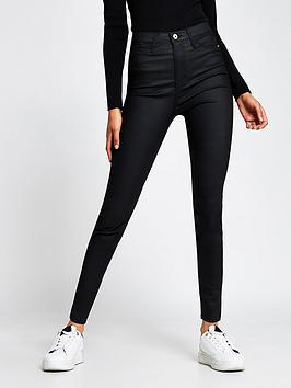 river-island-high-waist-coated-skinny-jean-black