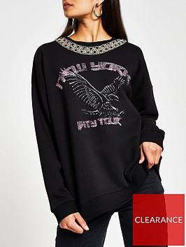 river-island-embellished-neck-print-front-sweater-black