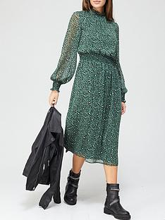 v-by-very-georgette-high-neck-midi-dress-green-print