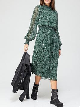 v-by-very-georgette-high-neck-midi-dress-green-print