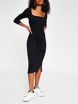 river-island-jersey-rib-tie-waist-square-neck-midi-dress-black
