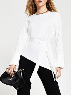 river-island-asymmetric-side-tie-top-white