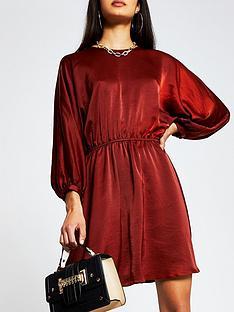 river-island-casual-drawstring-dress-red