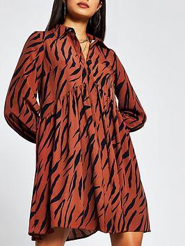 river-island-animal-print-smock-shirt-dress-brown