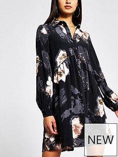 river-island-floral-print-smock-shirt-dress-black