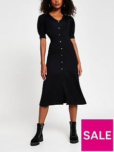 river-island-button-down-midi-dress-black
