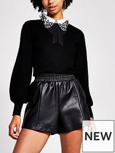 river-island-balloon-sleeve-collar-detail-knitted-jumper-black