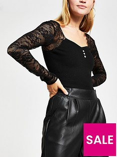 river-island-lace-sleeve-knitted-top-black