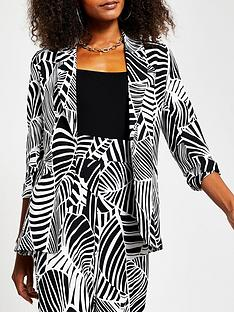 river-island-printed-soft-belted-blazer-black