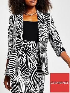 river-island-printed-soft-belted-blazer-black