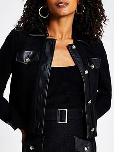 river-island-pu-trim-boucle-bomber-jacket-black