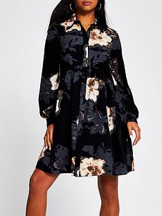 ri-petite-floral-print-smock-shirt-dress-black