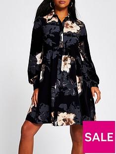 ri-petite-floral-print-smock-shirt-dress-black