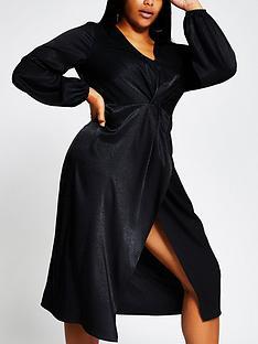 ri-plus-knot-front-animal-jacquard-midi-dress-black
