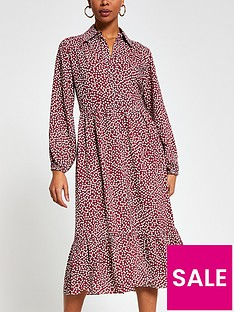 river-island-polka-dot-tiered-smock-shirt-dress-burgundy