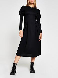 river-island-puff-sleeve-midi-dress-black