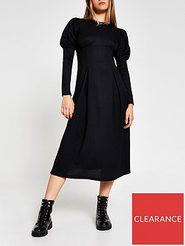 river-island-puff-sleeve-midi-dress-black