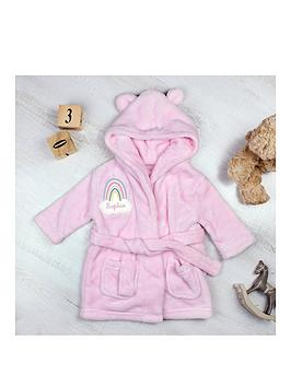 the-personalised-memento-company-personalised-rainbow-motif-pink-dressing-gown
