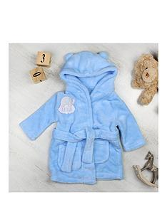 personalised-elephant-motif-blue-dressing-gown