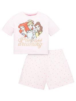 disney princess girls disney princess stripe princess dreaming shorty pjs - pink