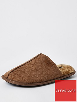 river-island-mule-slipper-brown