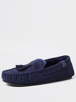 river-island-moccasin-slipper-navy