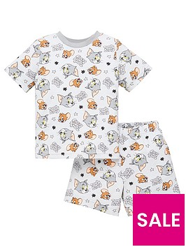 tom-jerry-boys-tom-and-jerry-all-over-print-shorty-pjs-grey