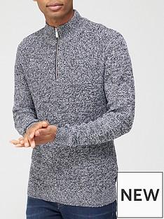 burton-menswear-london-fisherman-knit-half-zip-jumper-grey