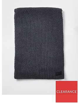 river-island-rubberised-logo-rib-knit-scarf-grey