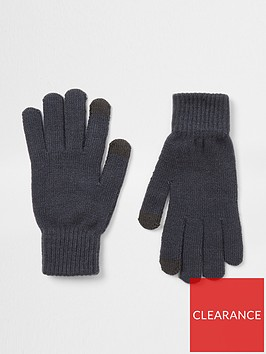 river-island-monogram-gloves-black