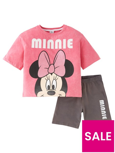 minnie-mouse-girls-disney-minnie-mouse-2-piece-acid-wash-t-shirt-and-cycling-short-set-pink