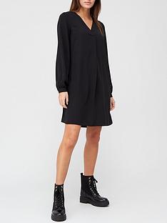 v-by-very-notch-neck-long-sleeve-dress-black