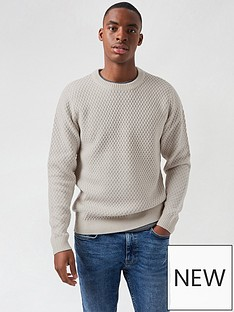 burton-menswear-london-chunky-crew-neck-jumper-stone