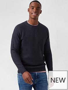 burton-menswear-london-cable-knit-crew-neck-jumper-navy