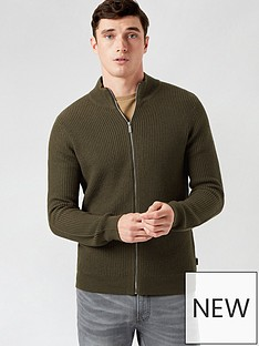 burton-menswear-london-fisherman-zip-through-jumper--nbspkhakinbsp