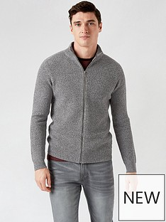 burton-menswear-london-mid-gauge-zip-through-jumper-grey